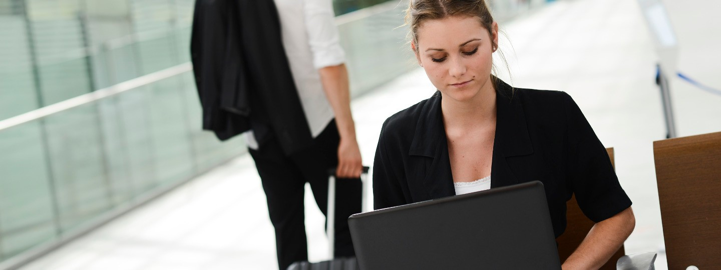 business woman with computer accounting