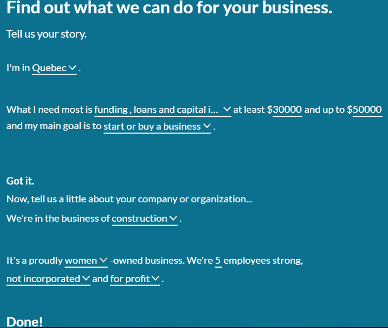 financing questionnaire for starting your own business